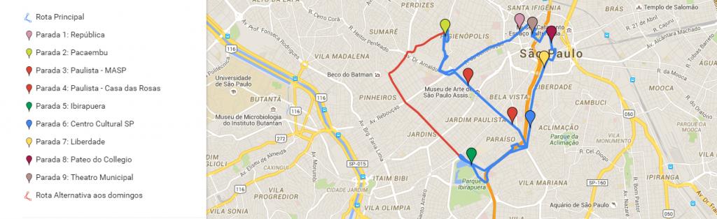 Mapa onibus de turismo em sao paulo