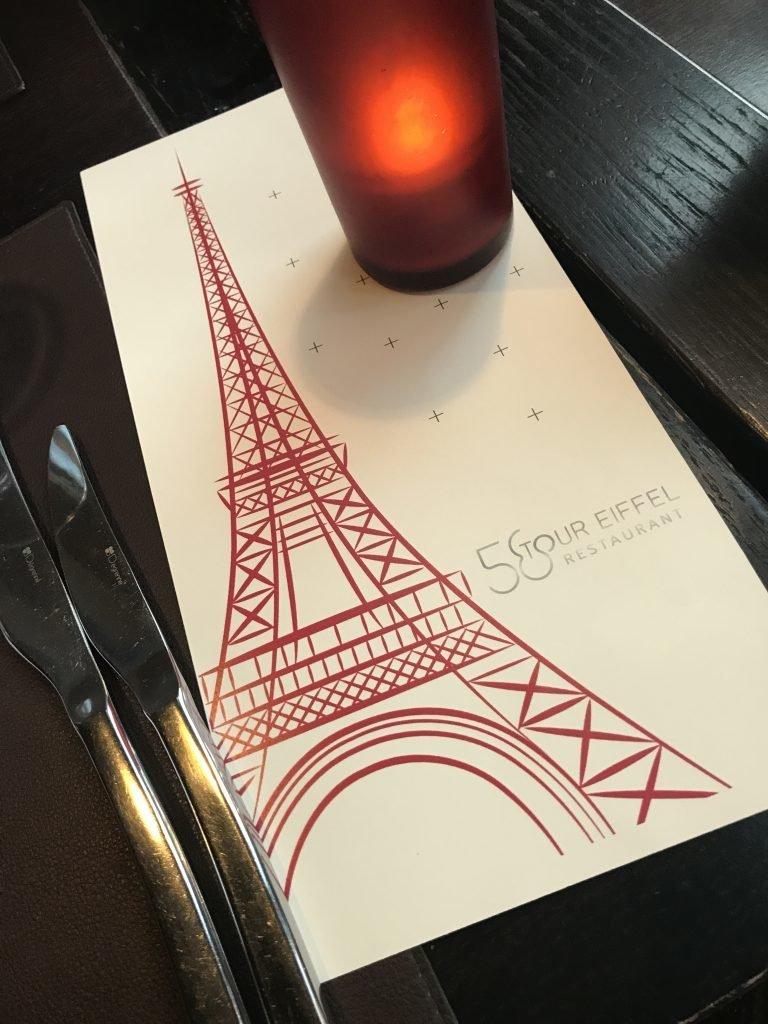 Menu Restaurante 58 na Torre Eiffel em Paris
