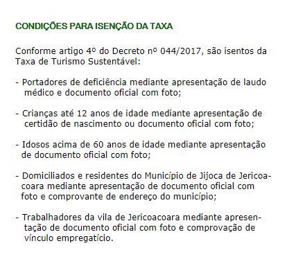isenção da taxa em Jericoacoara