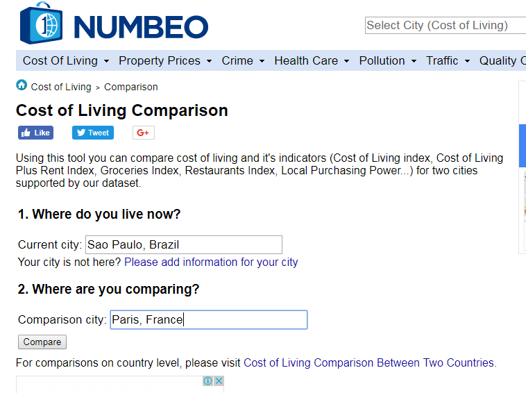 Numbeo - comparativo de custo