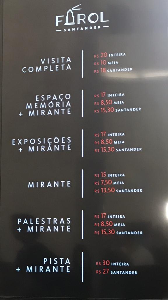 Preços de acordo com os espaços - Farol Santander