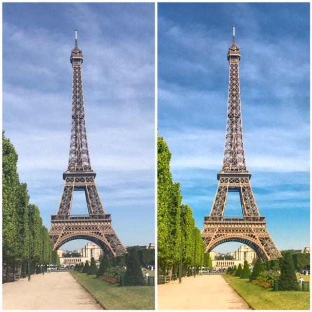 Paris - Antes e Depois - edição de fotos