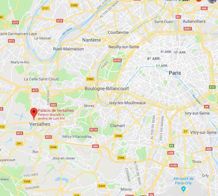 Mapa De Paris A Versalhes - como chegar ao Palácio de Versalhes