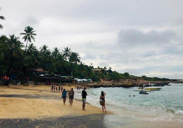 Praia De Calhetas Bar Do Artur Ao Fundo