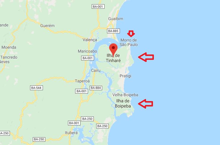 Ilha De Tinharé E Boipeba Mapa