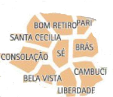 Mapa Zona Central bairros em sp