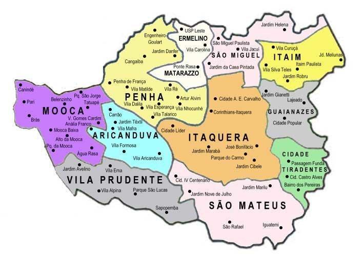 Mapa Zona Leste Sp bairros em são paulo