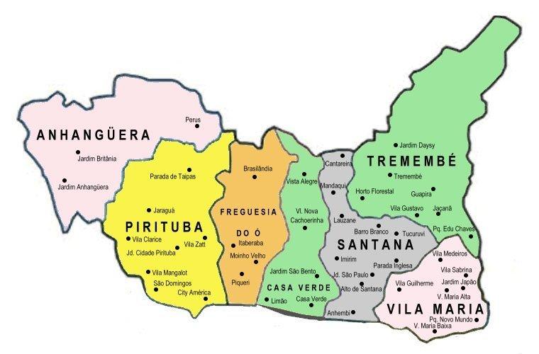 Mapa Zona Norte Sp