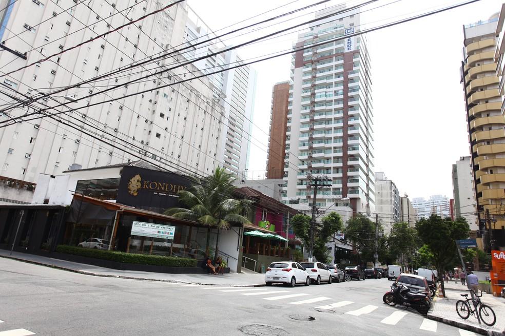 Rua Tolentino Filgueiras em Santos
